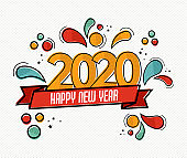New Year 2020 pop art card in funny comic style