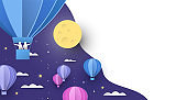 Paper hot air balloon background on night sky