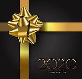 New Year 2020 gold black gift box ribbon card