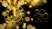 Happy New Year 2020 gold midnight clock party card