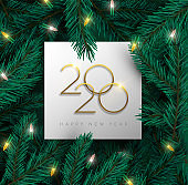 New Year 2020 3d pine tree christmas light card