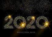 2020 Happy New year card of outline gold number