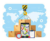 crane hook with boxes package and smartphone gps map