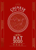 Chinese new year 2020 rat card gold asian line art