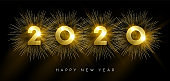 New Year 2020 gold party firework greeting card