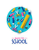 Back to school card papercut child supplies icons
