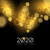 New Year 2020 gold party light greeting card