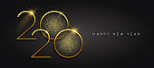 New Year 2020 gold glitter black background card
