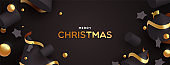 Christmas banner of 3d black and gold decoration