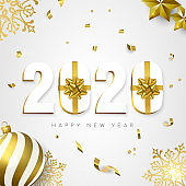2020 New year card gift holiday gold decoration