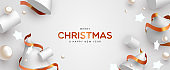 Christmas banner of 3d white and gold decoration
