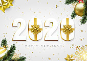 2020 New Year gold white gift box number card