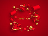 Christmas card of luxury 3d red and gold ornaments