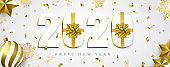 2020 New year banner gift holiday gold decoration