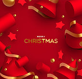 Christmas card of luxury realistic 3d red shapes