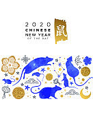 Chinese New Year 2020 blue watercolor rat card