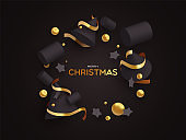 Christmas card of 3d black and gold ornaments