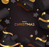 Christmas card of gold and black holiday ornaments
