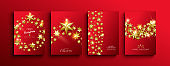 Christmas and new year gold 3d stars template