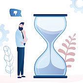 Handsome businessman or employee near big hourglass. Deadline ot time management background.