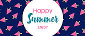 Happy Summer banner of watermelon ice cream