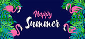 Happy Summer banner of tropical plant and flamingo