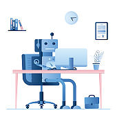 Robot or chatbot on workplace. Artificial intelligence working without humans.