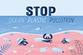 Stop ocean pollution. Ocean coast with plastic trash and various garbage.