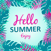 Hello Summer card of tropical palm tree leaves