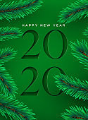 New Year 2020 cutout green pine tree greeting card