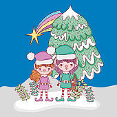 elf with pine tree and branches leaves