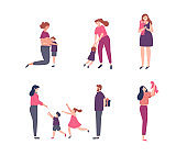 Set of Women with children and family scenes
