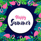 Happy Summer card of flamingo and tropical plant