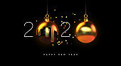 Happy New year 2020 gold 3d bauble decoration