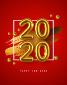 New Year 2020 gold 3d number red background