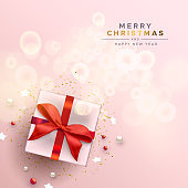 Merry Christmas red gift holiday decoration card