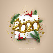 New Year 2020 gold 3d number deer toy holiday card