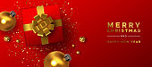 Christmas New Year gold red 3d holiday decoration