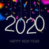 Happy New Year 2020 greeting card with confetti