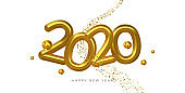 Happy New Year 2020 gold 3d number white card