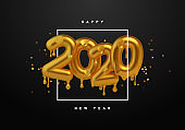 New Year 2020 gold 3d number melted drip