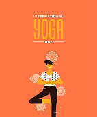 Yoga Day card of woman in tree pose exercise