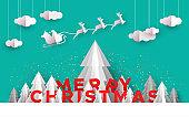 Christmas card papercut pine tree santa deer sled