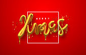 Christmas 3d gold drip text quote red background