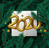 New Year 2020 gold 3d number on pine tree leaf