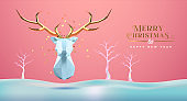 Christmas New Year abstract 3d low poly gold deer