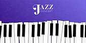 Jazz music event banner with piano background