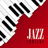 Jazz concert poster with piano background