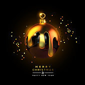 Merry Christmas 3d luxury gold drip ball ornament