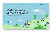 Outdoor yoga web landing page template